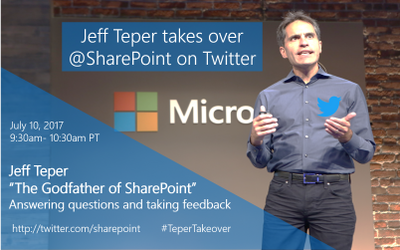 """The """"Godfather of #SharePoint"""" will be on video + tweeting from @SharePoint Twitter handle. #TeperTakeover"""