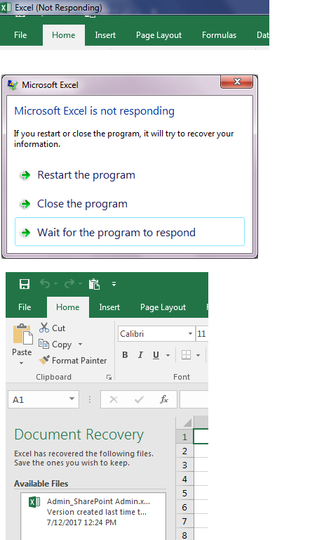excel document recovery not responding