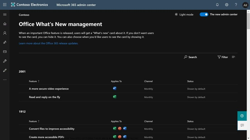 Figure 5 - Office What's New management supports Dark mode