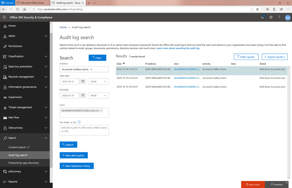 [Image: users can now see audit activity such as the MailItemsAccessed event]