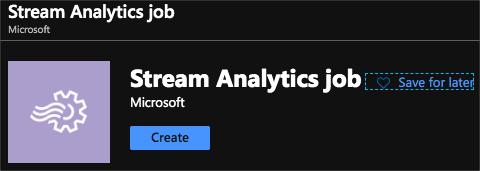 Stream analytics job in the portal