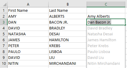 If you type the first name in column C and then start to type the second name, Flash Fill will grey in the results.