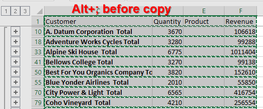 Use Alt+; before copying to select visible cells.