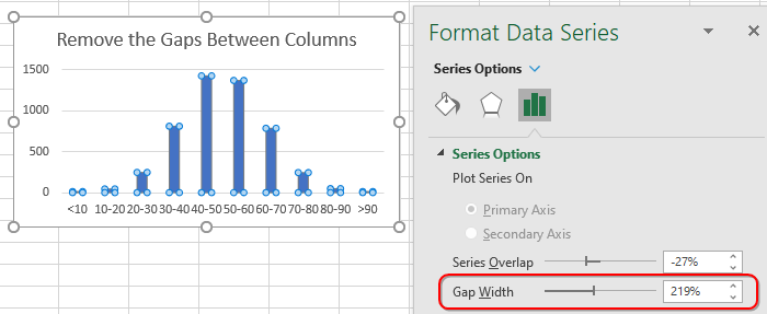 To make the columns wider, make the Gap Width smaller.