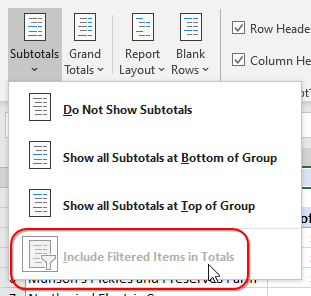 """The """"Include Filtered Items in Totals"""" has been greyed out since January 20, 2007."""