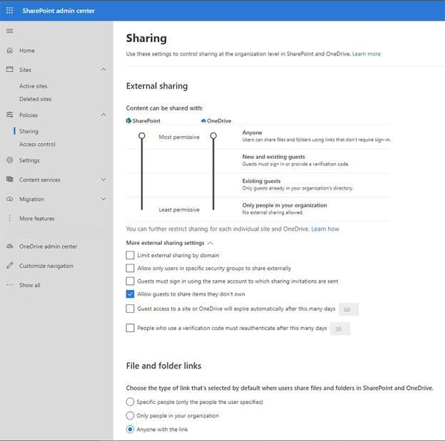 The full-featured Sharing administration page now appears within the new SharePoint admin center.