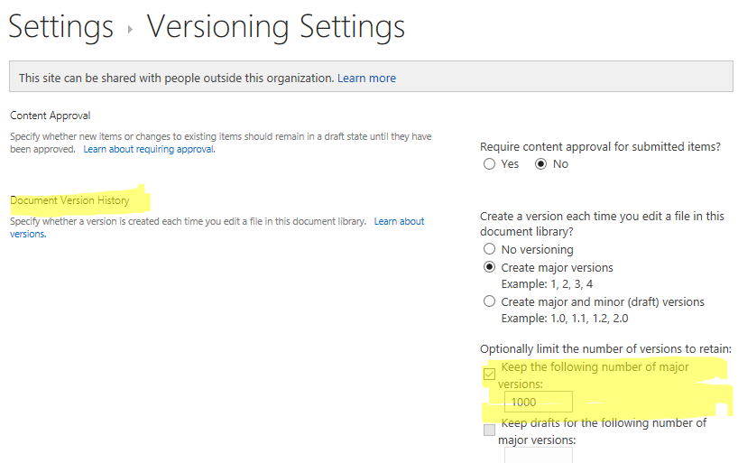 Default Versioning Settings - Number of Versions to retain