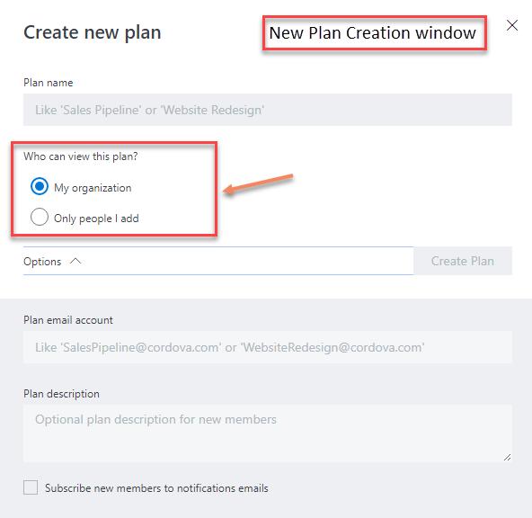 New plan creation