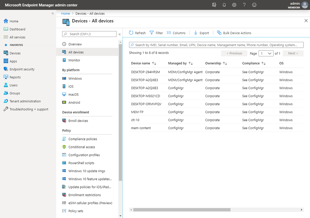 Take action on your ConfigMgr devices from the Microsoft Endpoint Manager admin center
