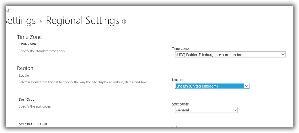 time zone settings for o365 groups sharepoint