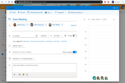 Sending a Meeting Invite from Outlook Online