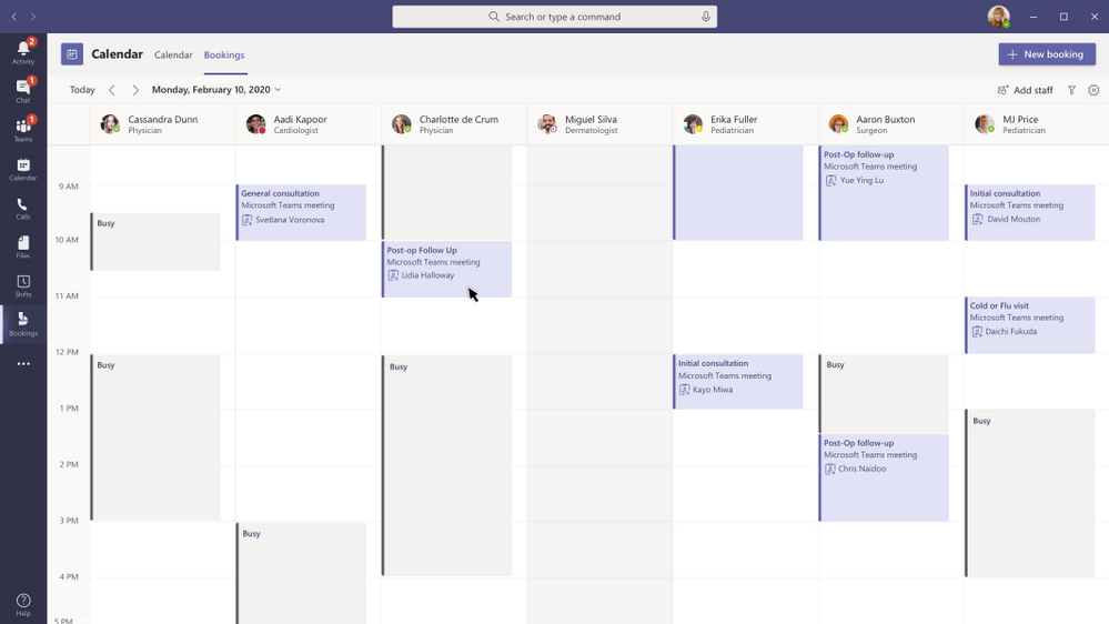 Bookings calendar is available right within Teams as an additional calendar tab