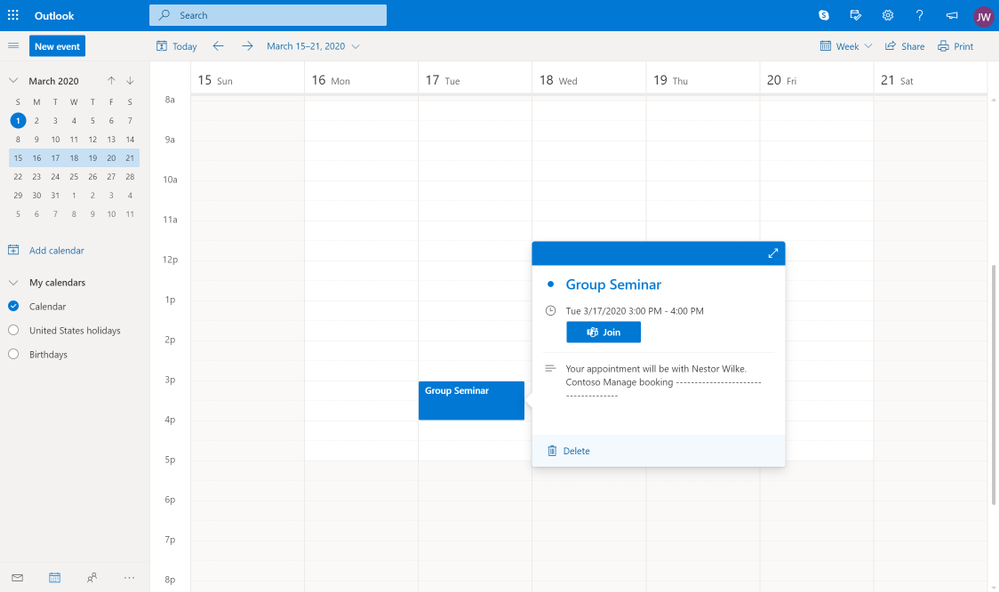 People who booked through Bookings can join the appointment directly from their calendar if they have Skype or Teams