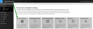 Microsoft Healthcare Bot template catalog