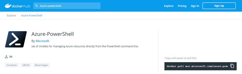 Azure PowerShell on docker hub