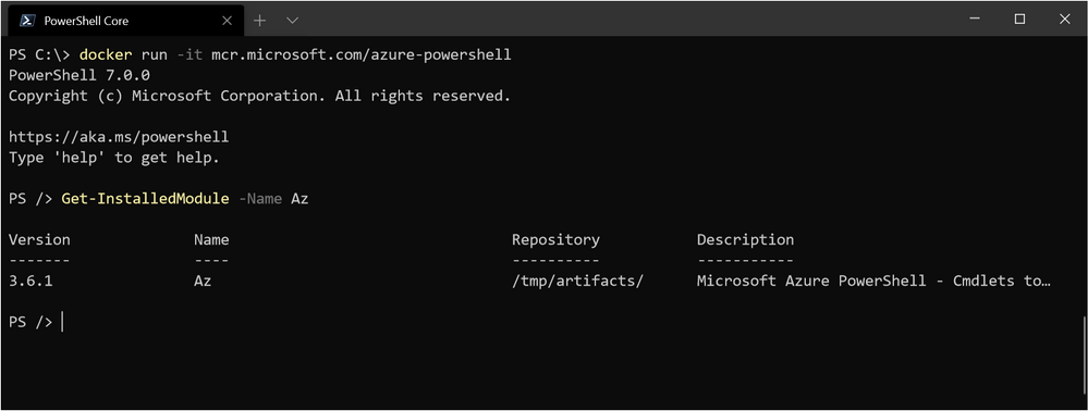 Running PowerShell interactively in docker container