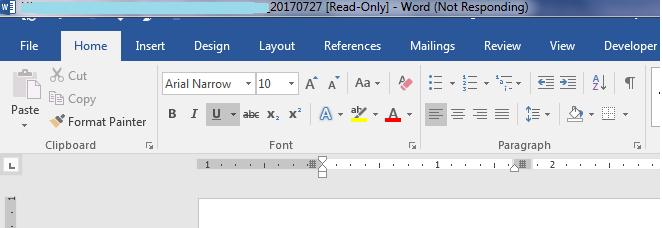 microsoft word 2016 not responding mac