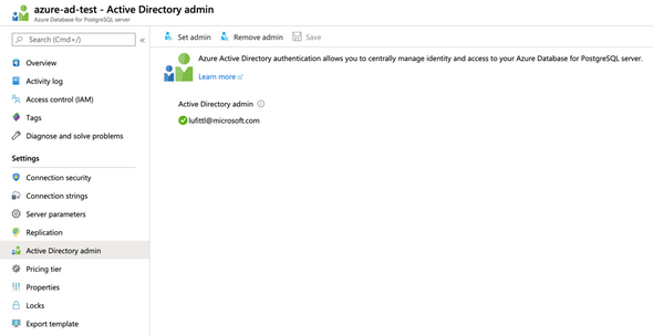 Screenshot of Azure Portal, with Azure Active Directory administrator blade showing for an Azure Database for PostgreSQL server.