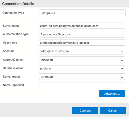 Screenshot of Azure Data Studio connection screen for Postgres, with Azure Active Directory authentication type selected.