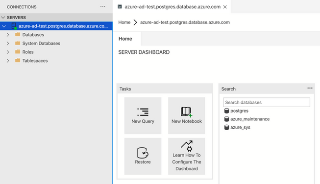 Screenshot of Azure Data Studio with successful connection to Postgres seerver