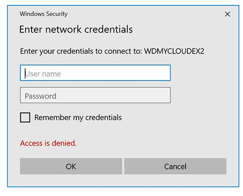 how to input credentials to connect to pc