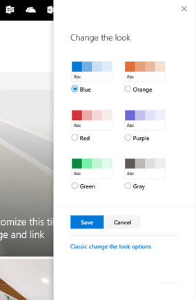 Choose from six default site themes.