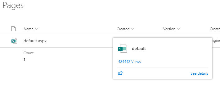 "Hovering over file name to see Views - selecting views gives ""File Statistics"""