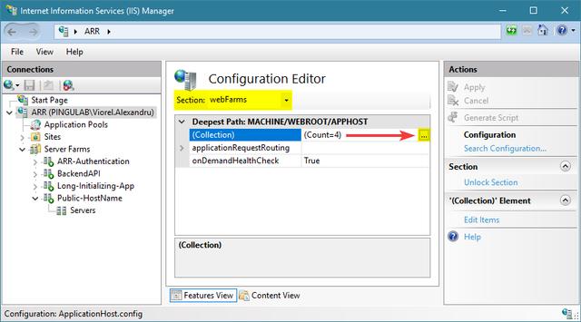 Edit server farms collection