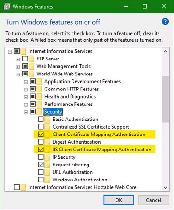 The 2 client certificate mapping features in IIS