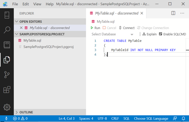Writing sql script for table 1 - in Azure Data Studio Postgres.png