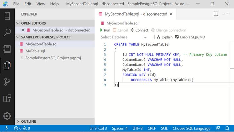 Writing sql script for table 2 - in Azure Data Studio Postgres.png
