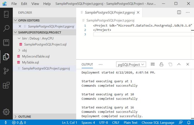 Successful deployment of Postgres project script - in Azure Data Studio.png