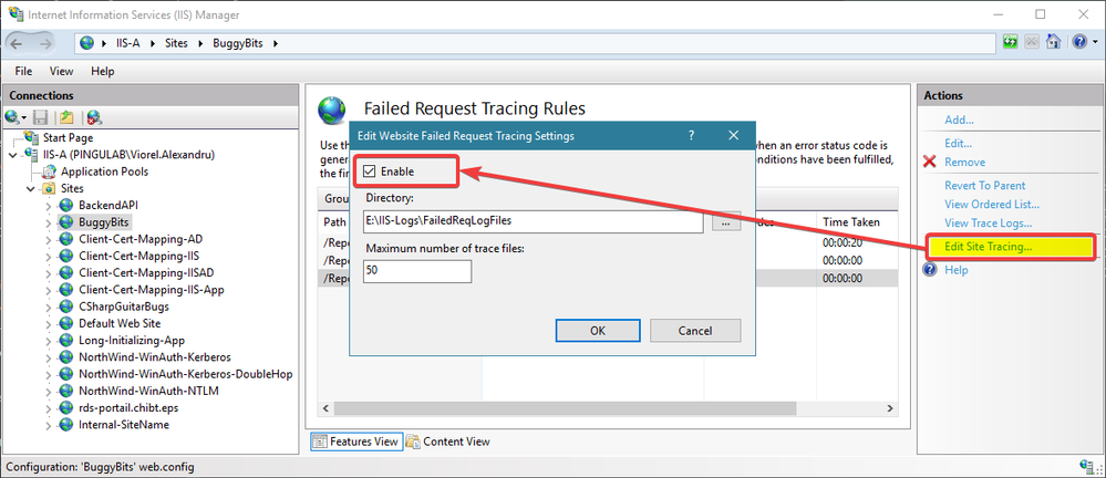 Enable from site level, customize location or maximum number of trace logs collected. Don't forget to disable