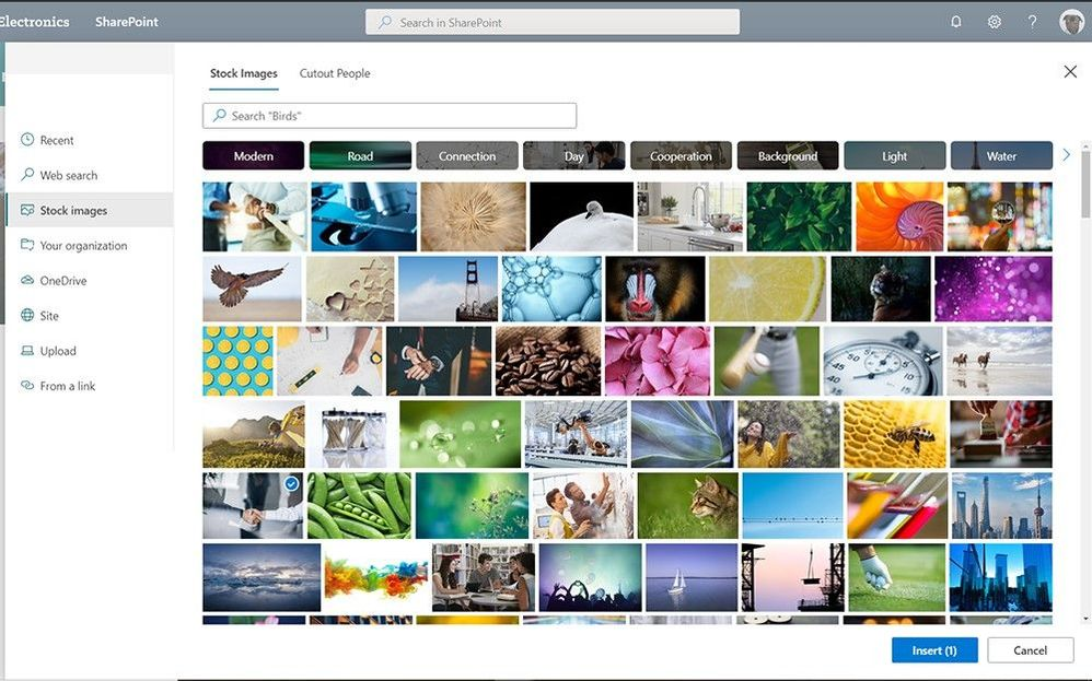 Enhance your internal communications with stock images for SharePoint pages and news.
