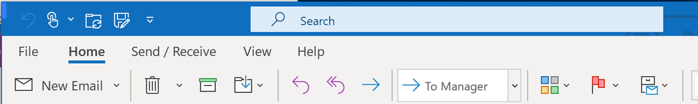 Search box is activated to click and reposition the Outlook window
