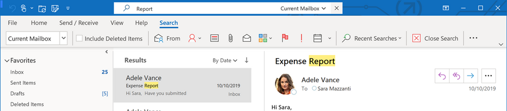 Search in Outlook is closer to results with the Simplified Ribbon
