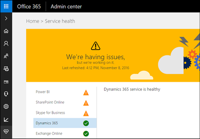 This classic Office 365 service health dashboard is being retired