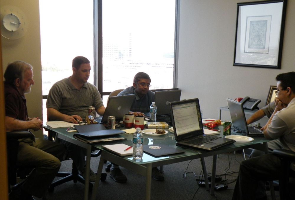 Volunteer developers at work, helping build websites for nonprofits (2009)
