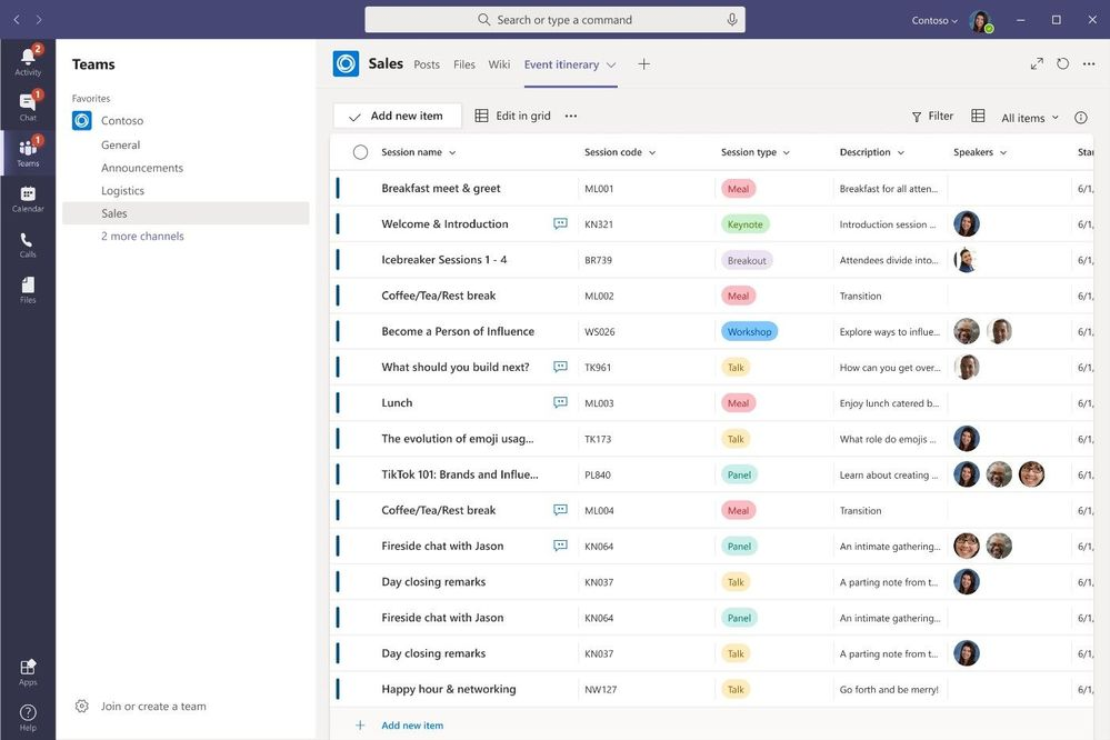 Create, share, and track list all from within Microsoft Teams.