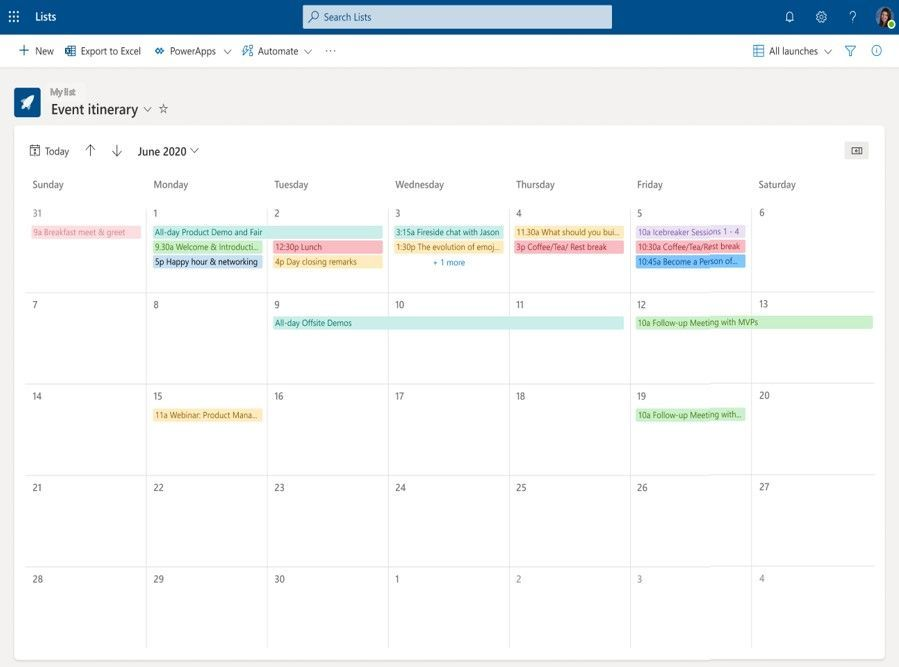 A list in calendar view – showcasing any item with a date associated to it.