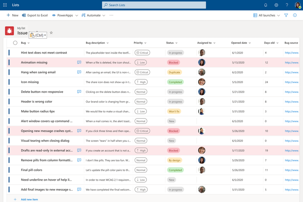 Microsoft Lists are stored in SharePoint sites and can be accessed from the new Lists home page (as shown here), directly from the SharePoint team site or from within Microsoft Teams.