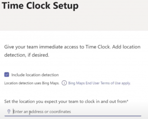 Location detection enables management to set the desired location for clocking in to ensure employees are working from the right location.