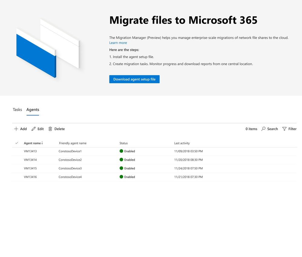 SharePoint admin center - Migration manager, showing scale across clients.