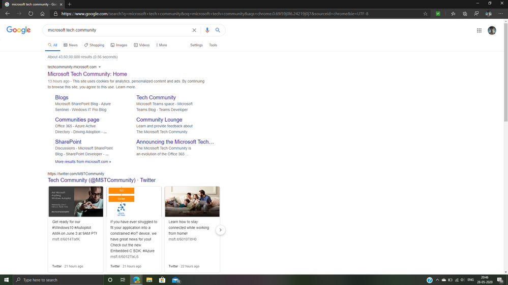 The website selected is searched.