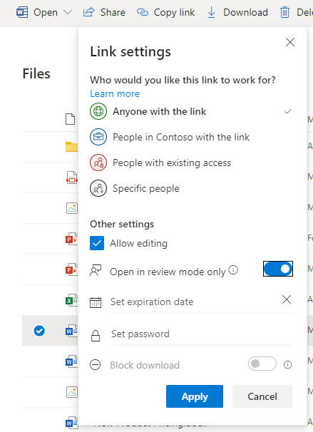 """Select """"Open in review mode only"""" in the sharing dialog"""