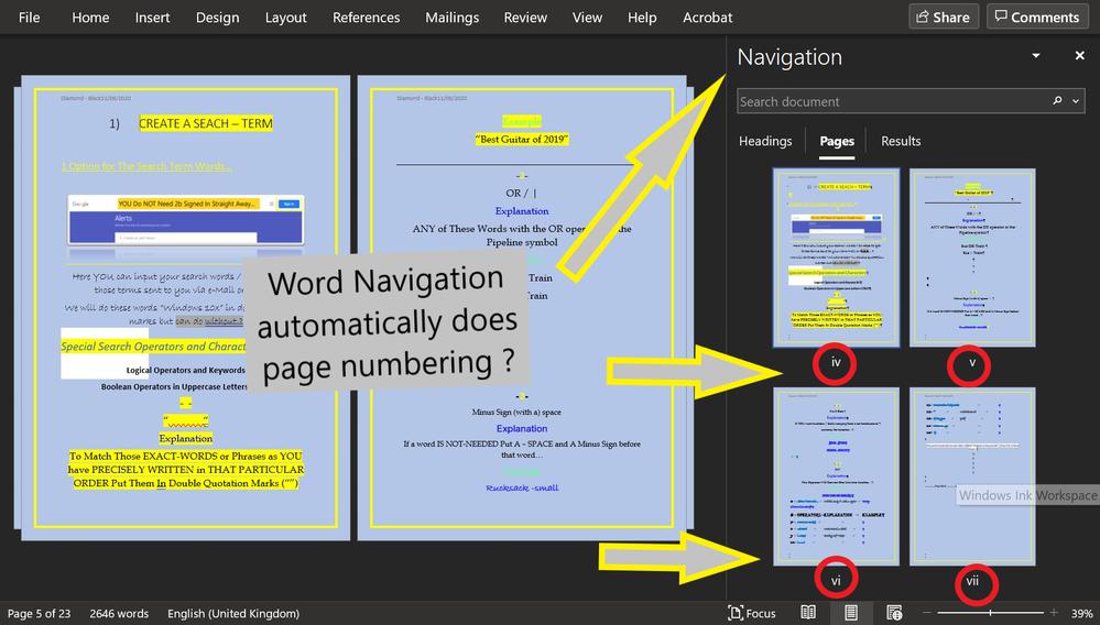 Word Navigation Panel