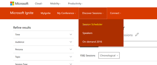Find a session in the Session Scheduler