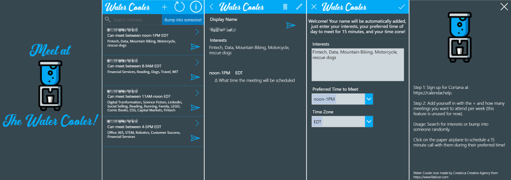 Screens of the Water Cooler App