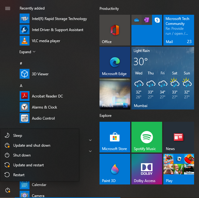New shutdown menu seen in the start menu.