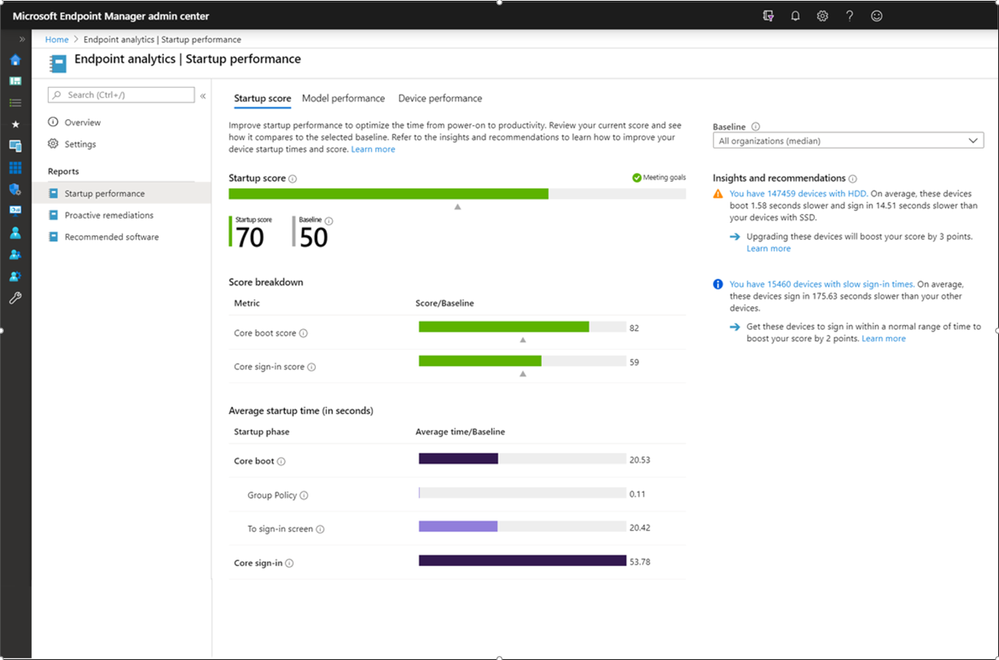 Endpoint Analytics Startup Performance screen